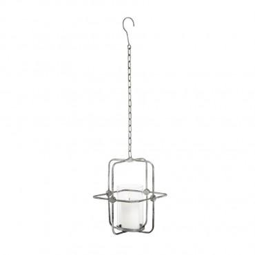 Industrial Metal Hanging Lantern Candle Holder Tealight Lamp Green 21x29cm