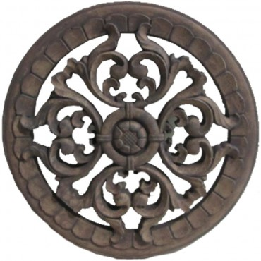 Round Wall W/ Fleur De Lis Taupe Hanging Screen Sign Cement Brown 30x30cm