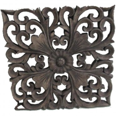 Square Wall W/ Fleur De Lis Taupe Hanging Screen Sign Cement Brown 30x30cm