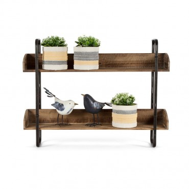 Industro Chic Hanging Wall Shelf Rack Stand Bookshelf Metal Distress Black 80x60cm