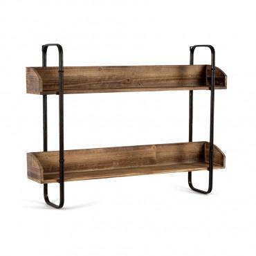 Industro Chic Hanging Wall Shelf Metal Mdf Wood Shelves Rack Stand Bookshelf 80x60cm