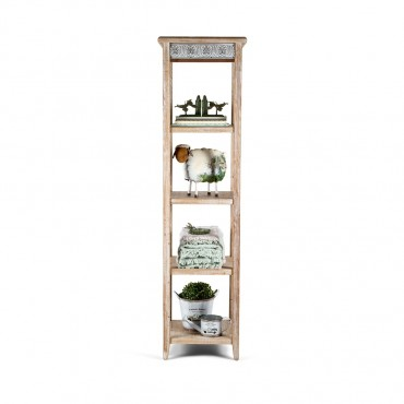 Large Chateau 5 Tier Shelf Unit Rack Stand Bookshelf Metal Distress White 48x180cm