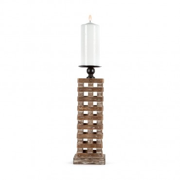 Industro Chic Pillar Candle Holder Lantern Tealight Lamp Natural 12.5x39cm