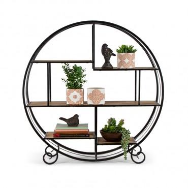 Round Elementals Floating Floor Shelf Metal Fir Wood Shelves Rack Stand Bookshelf 90x90cm