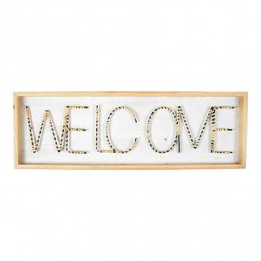 Large Welcome Exposed Metal Wall Art Hanging Screen Sign Metal 90x30cm