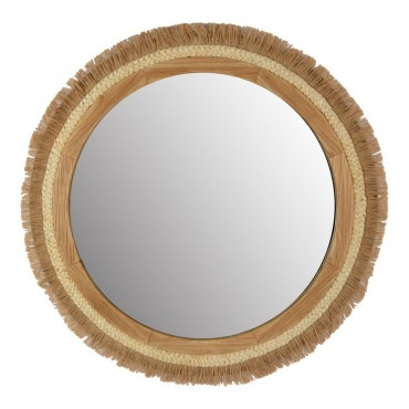 Handcrafted Layered Round Wall Mirror Hanging Art Natural 70cm