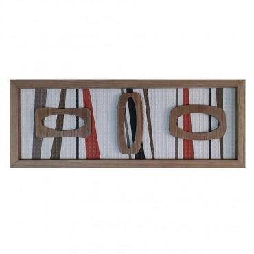 Abstract 3 Shape Framed Wall Art Hanging Screen Sign Fir Wood 30x80cm
