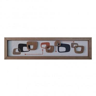 Abstract 4 Shape Framed Wall Art Hanging Screen Sign Fir Wood 20x80cm