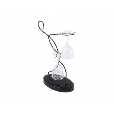 Metal 'Stick Person' Wine Glasses Holder Bottle Storage Stand Metal Red 25x40cm