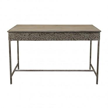 Baroque Console Table Hallway Hall Unit Metal Mdf Natural Grey Wash 120x80cm