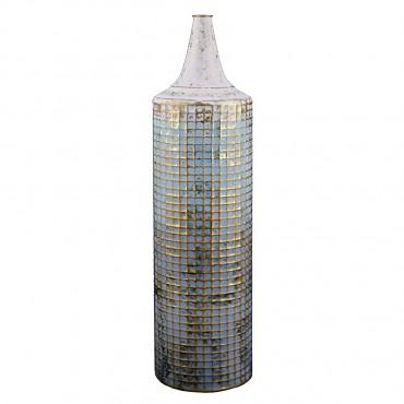 Large Lustre Vase Flower Holder Planter Pot Metal Blue White Gold 16x64cm
