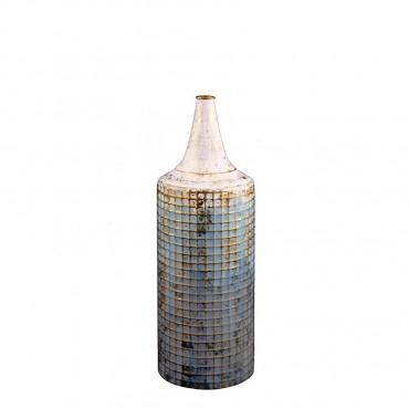 Large Lustre Vase Flower Holder Planter Pot Metal Blue White Gold 16x46cm