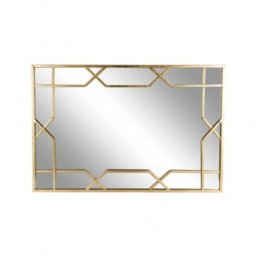 Aura Geometric Rectangle Wall Mirror Hanging Art Metal Gold 60x90cm