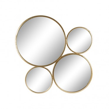 Aura Four Ring Round Wall Mirror Hanging Art Metal Gold 80x80cm