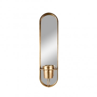 Aura Oval Wall Mirror W Planter Hanging Art Metal Gold 24x96cm