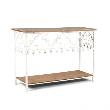 Fiore Console Table Hallway Hall Unit Metal Wood White Natural 120x80cm