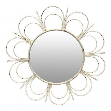 Fiore Round Wall Mirror Hanging Art Metal Wood Mirror  White 90cm