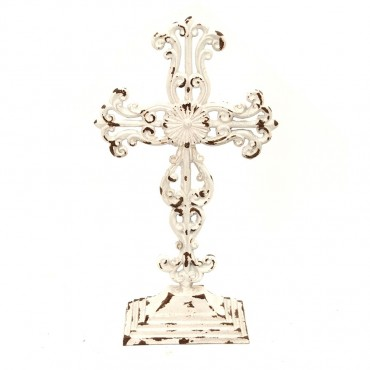 Largeed Table Cross Wall Art Hanging Decor Sign Metal Antique White 21x37cm