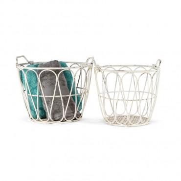 Set 2 Nested Towel Fruit Basket Storage Holder Fruit Metal White 49x38cm