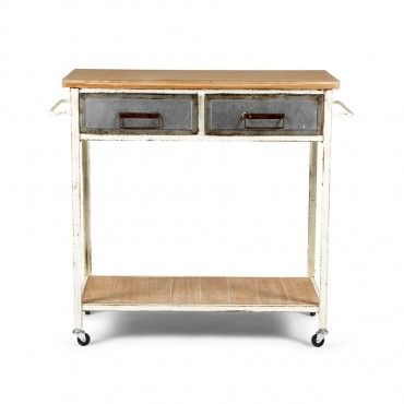 Farmers Kitchen Console Table On Wheel Hallway Hall Unit White 90x80cm