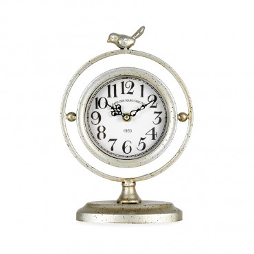 Round Table Clock W/ Bird Art Decor Metal Glass Distress Champagne 20x29cm