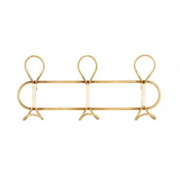 Bamboo Cane 3 Hooks Wall Hanging Wall Mount Rack Holder 48x22cm