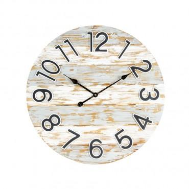 Large Coastal Panel Round Wall Clock Metal Hanging Art Decor 66x66cm