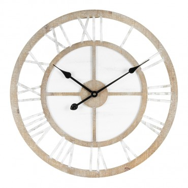 Large Scandi Geometric Wall Clock Fir Wood Hanging Art Decor 60cm