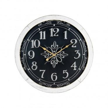 Large Noir Ornate Scroll Round Wall Clock Metal Hanging Art Decor 56x56cm
