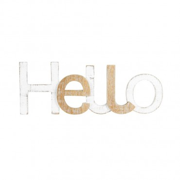 Large Scandi Style 'Hello' Wall Art Hanging Screen Sign Whitewash 60x22cm