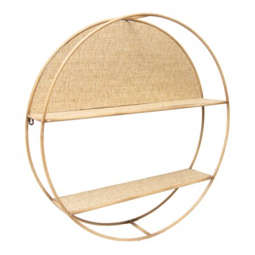 Round Floating Shelf Wall Hanging Rack Stand Bookshelf Natural 80cm