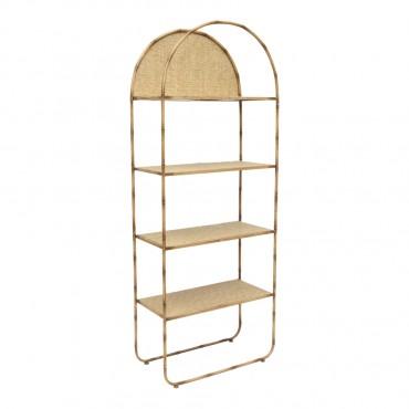 Tropea Arch 4 Shelf Stand Fir Wood Metal Shelves Rack Stand Bookshelf 60x153cm