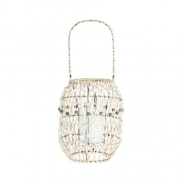 Handcrafted Beaded Lantern Candle Holder Tealight Lamp Rattan 23x49cm