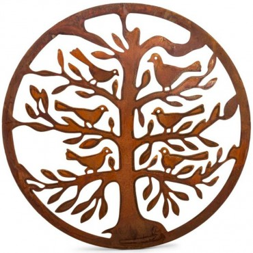 Round Laser Cut Of Life With Bird Wall Art Hanging Screen Sign Metal  50x50cm