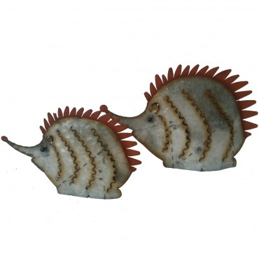 Set Of 2 Hedgehog Garden Animal Ornament Figurine Metal Multi 35x23cm