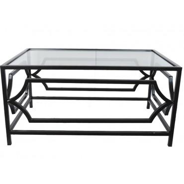 Elle Glass Coffee Side Table Lamp Nightstand Metal Black 90x45cm
