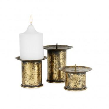 Set 3 Nested Vintage Pillar Candle Holder Lantern Tealight Lamp Gold 11x14cm