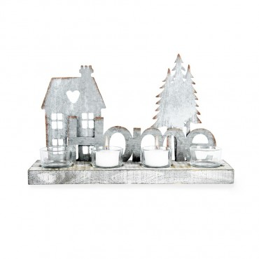 Home W/ Fir Tree 4 Glass Candle Holder Lantern Tealight Lamp Galvanised 32x20cm