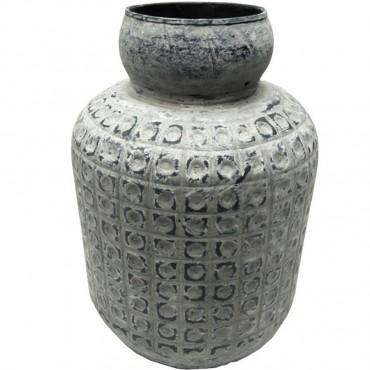 Large Basqueer Planter Pot Flower Holder Garden Metal Grey 25x38cm