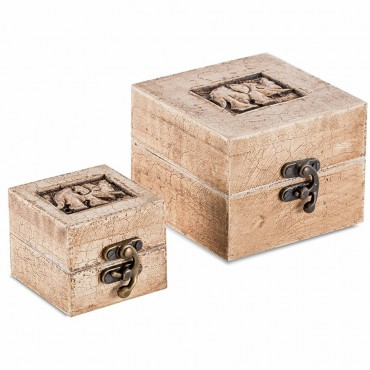 Set Of 2 Nested Carved Elephant Box Storage Container Holder Timber 0 10x8cm