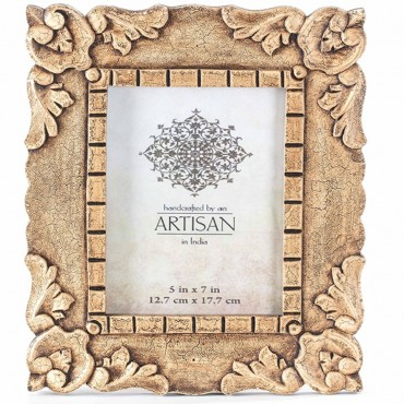 Wood Carved Photo Frame Picture Art Glass Brown 30x34cm