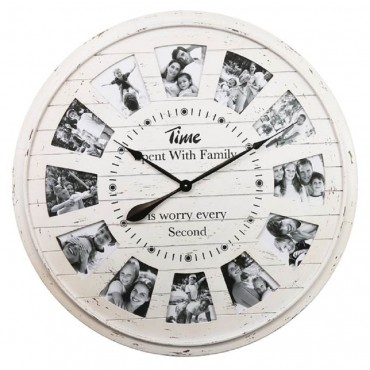 Large Round Wall Clock W Picture Frame Hanging Art Decor Metal Cream 80cm
