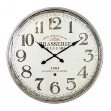 Brasserie Iron Wall Clock W/ Glass Front Hanging Art Decor 80x80cm
