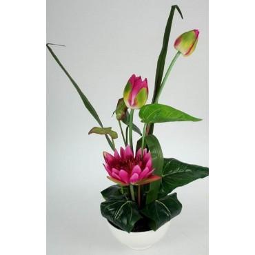 Faux Lotus In Ceramic Pot Plant Fake Floral Artificial Green 30x43cm