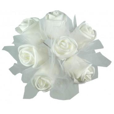 bulk 24 Faux Rose Bouquet 7 Heads W/ Sheer Lace Plant Floral Artificial 20x20cm