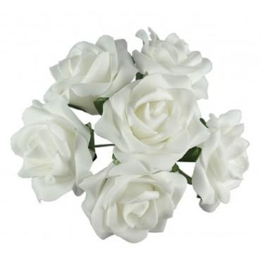 bulk 24 Faux Rose Bouquet 6 Heads Plant Fake Floral Artificial White 20x25cm