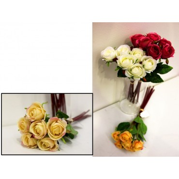 bulk 24 Faux Rose Bunch 3 Assorted Fake Floral Plastic Cream Red 12x30cm