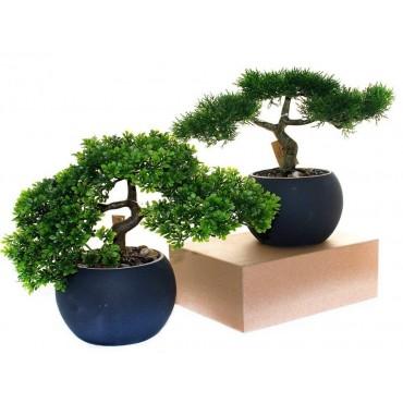 Set 2 Faux Bonsai Assort Plant Fake Floral Artificial Ceramic Pot 20x30cm