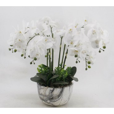 Large Faux Orchid In Marble Look Pot Tree Plant Fake Floral Artificial 25x64cm