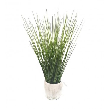 Faux Decorative Grass In Cement Vase Plant Fake Floral Artificial Green 15x46cm